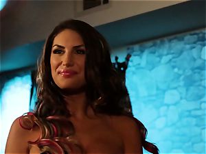 August Ames and Lily Cade rope on sofa hook-up
