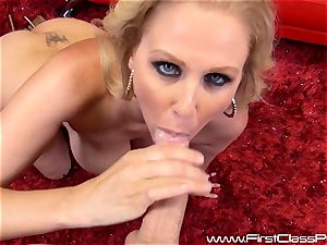 crazy fuckbox pot milf Julia Ann sucking on a massive weenie and getting a giant geyser to her melons