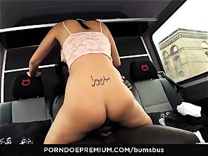backsides BUS - naughty dame multiracial fuck-fest and jism on bumpers