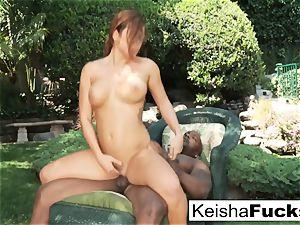 wondrous Keisha takes a immense black salami outdoors