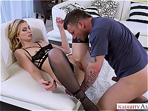 Tall slender blondie prizes her excellent mate with a steamy plow session