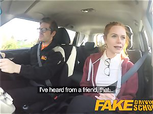 faux Driving college nice sandy-haired Ella Hughes smashes