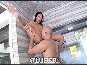 greased large man rod douche nail for small beauty Megan Rain