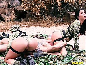 Angela milky, Karlee Grey - warm army broads with fat fun bags