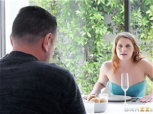 Adriana Chechik gets her cooter filled up with phat man rod in restaurant
