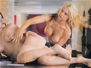 milf Sarah Vandella entices steaming honey Jojo smooch