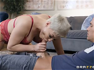 insane ash-blonde caught catching a cumload