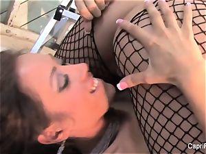Capri and Jenaveve have uber-sexy joy in fishnets
