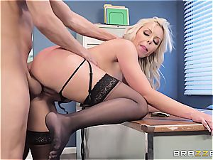 The chief' kinky wifey gets a fountain of cum obeyed in her puss