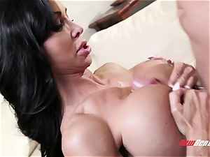 tanned exotic cougar nubs Jade takes her stepson's large man meat in her tattooed cooch