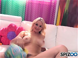 Sarah Vandella playing with her lovely joy button muff