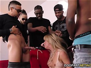 Cherie DeVille Gives blowjob To A group Of black guy