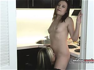 kissing French Canadian licks Russian vag in hotel