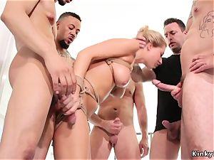 buxom platinum-blonde masturbating and ravaging in group