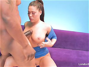 asian adult movie star London gets creampied by a big black cock