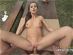 exceptionally fit brunette bombshell loves to get mischievous in public