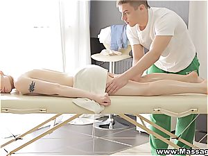 oiled up angelic nubile gets to suck the masseur's spunk-pump