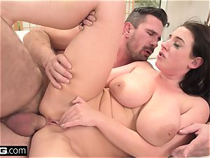 Angela deep throats her own titties as she's smashed in the ass