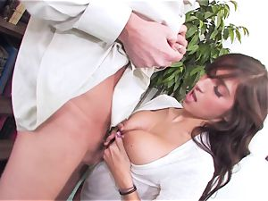slutty dark haired April ONeil getting her twat cracked by a monster spear