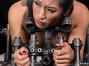 big-titted chinese gets bastinado in iron tool