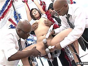 japanese bi-atch yells as she gets toyed by ebony guys