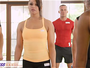FitnessRooms sweat-soaked bosom in a apartment total yoga babes