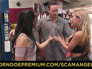SCAM ANGELS - Blackmail 3 way orgy with insatiable honies