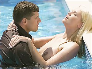 spectacular Izzy gets her tight light-haired cootchie penetrated by the pool