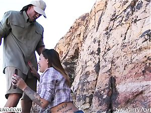 ultra-kinky hoe gets poked in the mountains with call girl