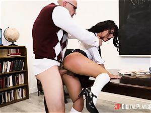 lecturer catapults his giant pipe into student Gina Valentina