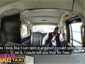lady faux taxi steaming perspiring plowing pays cab fare