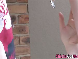 amateur girlfriend gargles outdoors