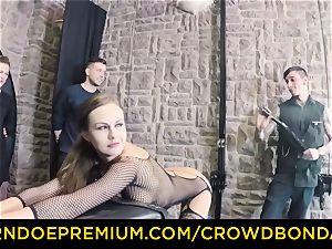 CROWD restrain bondage - extreme bondage & discipline penetrate wheel with Tina Kay