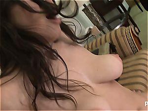 buxom Latina Evie Delatosso fellating a random fellow