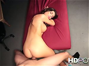 HD pov molten brown-haired with fat bumpers loves to juggle man sausage