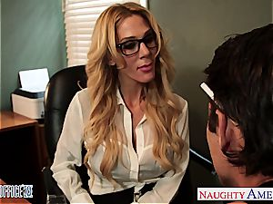 tattooed blondie Sarah Jessie poke in the office