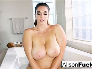 busty Alison Tyler takes a bathtub and massages herself down