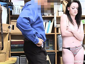Athena Rayne hammered in the clit coochie by dangled security guard
