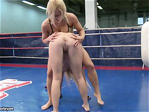 Nicky nude honey kissing her uber-sexy opponent