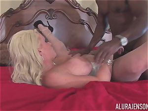 Alura Jenson gets her pretty gullet packed with firm dark-hued salami