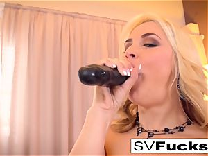 Sarah Vandella uses a massive toy