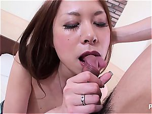 Jap babe with enormous udders seduced