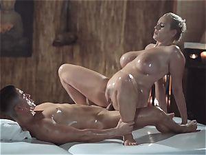 massage rooms beautiful mummy with gigantic innate boobs