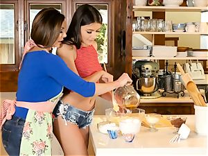 Kendra enthusiasm and Adria Rae all girl act in the kitchen