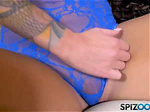 blonde chesty babe Lolly Ink solo getting off