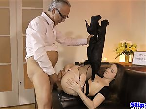 Glam eurobabe booty-fucked by british geriatric