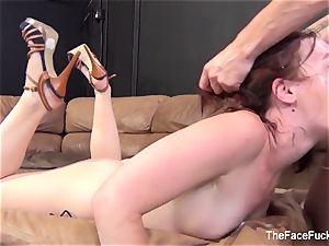Ginger mega-bitch gets her face torn up rock hard