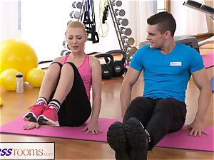 FitnessRooms Bendy blondie bends Over for her Trainer