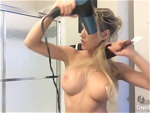 Capri's beautiful home vid - without bra blow dry