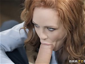 Redheaded hotty Ella Hughes showered in jizz